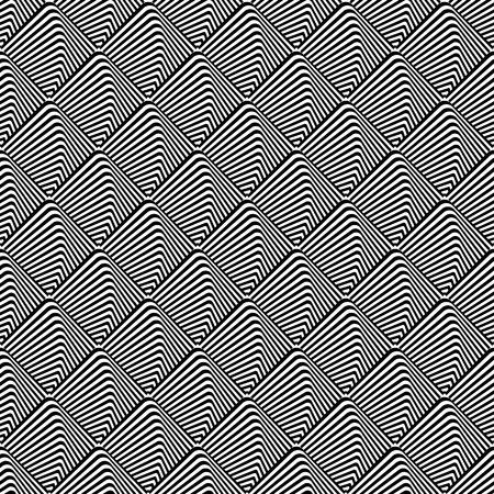 Seamless checked op art pattern. Lines texture. Vector art.