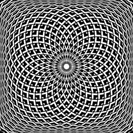 Op art abstract design. Geometric convex rotation pattern. Vector illustration.  イラスト・ベクター素材