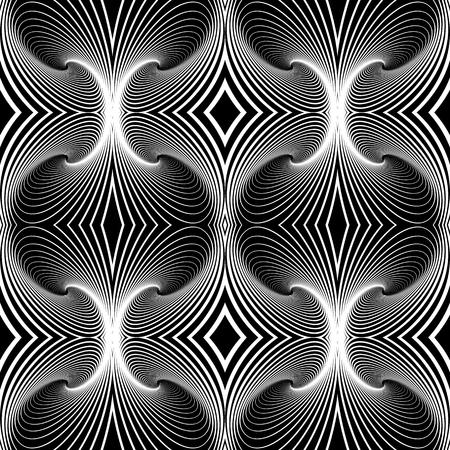 Seamless geometric op art pattern. Lines texture. Vector art.
