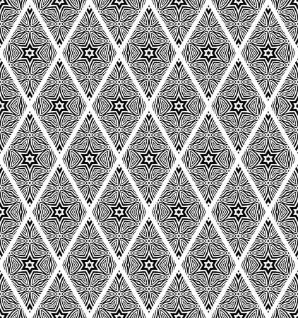 Seamless diamonds and stars pattern. Black texture on white background. Vector art.