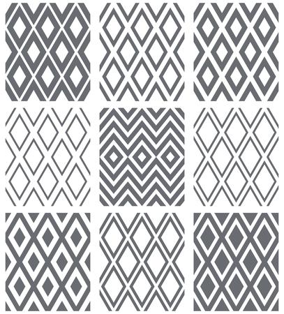 Seamless diamonds patterns. Geometric textures set. Vector art.