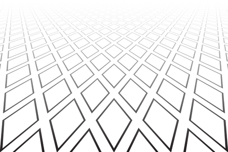 Abstract geometric diamonds pattern. Diminishing perspective. White textured background. Vector art.  イラスト・ベクター素材