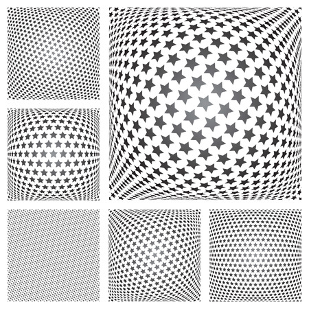 Stars patterns set. Five convex backgrounds and one seamless pattern. Vector art.