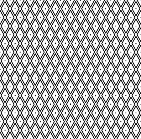 Seamless diamonds pattern. Black geometric texture on white background. Vector art.