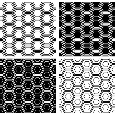 Set of seamless hexagons patterns. Black and white geometric backgrounds and textures. Vector art.