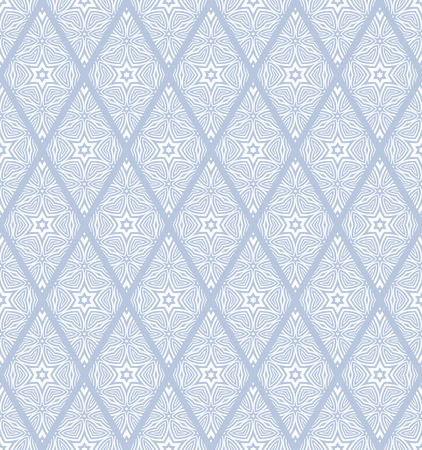 Seamless diamonds and stars pattern. Blue texture on white background. Vector art.