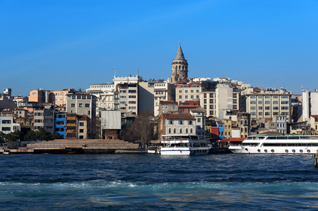 The Golden Horn, Galata tower, Beyoglu district in Istanbul, Turkey.