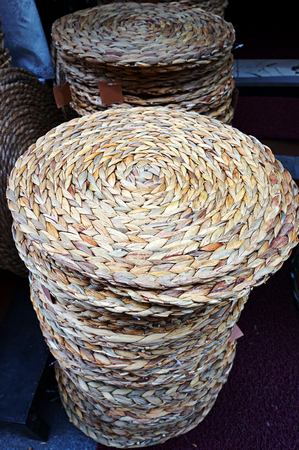 Wicker baskets at the street market in Istanbul, Turkey. 写真素材