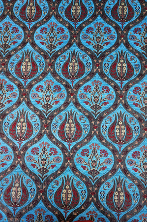 Traditional Turkish carpet. Floral tulips and cornflowers pattern. Banco de Imagens