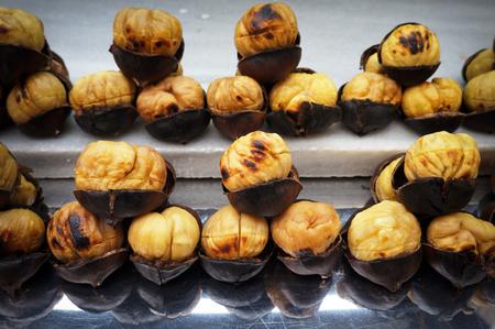 Roasted chestnuts. Street food in Istanbul, Turkey. European sweet chestnut (Castanea sativa). 写真素材