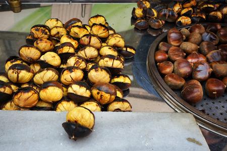 Roasted chestnuts. Street food in Istanbul, Turkey. European sweet chestnut
