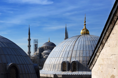 View to Blue mosque from Hagia Sophia domes in Istanbul, Turkey. 写真素材