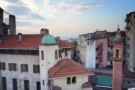 Part of Galata district  in the evening. Istanbul, Turkey.