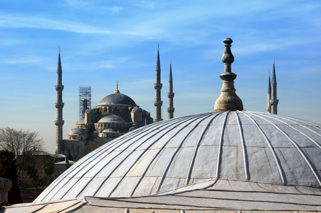 View to Blue mosque from Hagia Sophia domes, Istanbul, Turkey. 写真素材