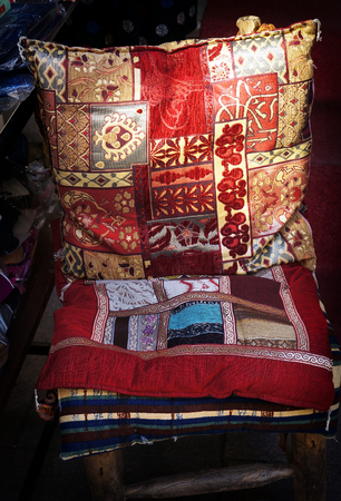 Decorative colorful cushion and cloths in traditional Turkish style. Istanbul, Turkey. 写真素材