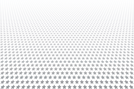Stars pattern. White textured background. Diminishing perspective view. Vector art.