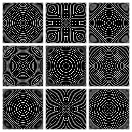 Design elements set. Abstract geometric patterns. White lines texture on black background.Vector art.