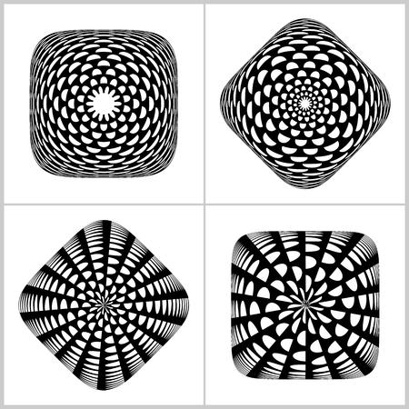 3D design elements set. Convex rounded square shapes. Vector art.