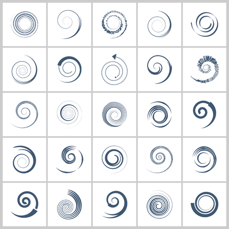 Spiral design elements. Abstract color icons set. Vector art.  イラスト・ベクター素材