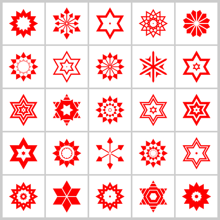 Design elements set. 25 abstract icons. Vector art.  イラスト・ベクター素材