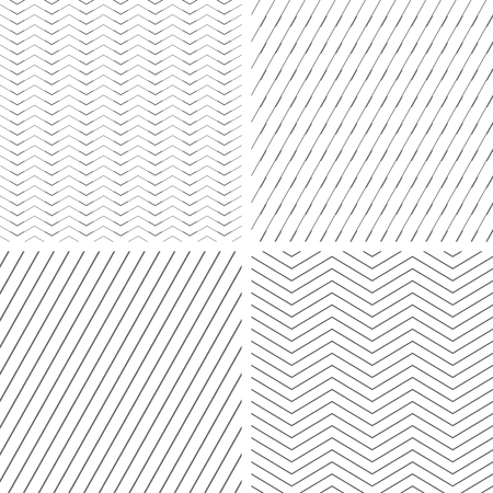 Seamless geometric patterns set. Lines texture. Vector art.