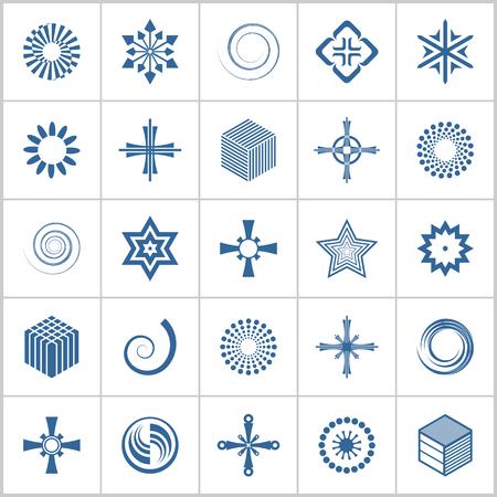 Design elements set. 25 blue geometric icons. Vector art.