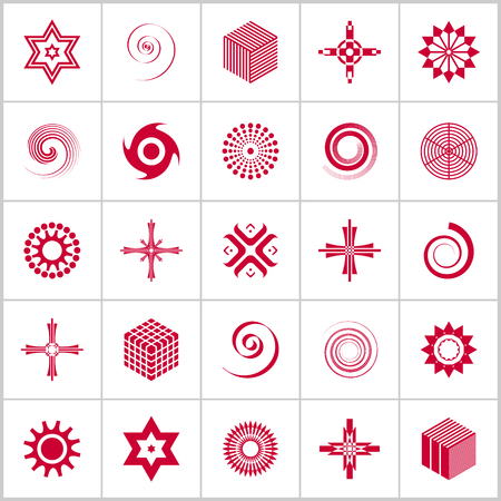 Design elements set. 25 red geometric icons. Vector art.