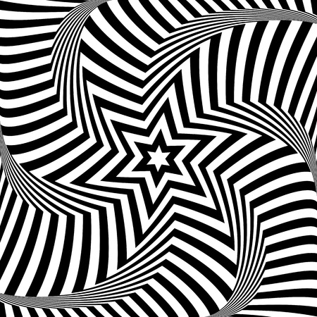 Lines and star pattern. Illusion of rotation torsion movement. Abstract op art design.