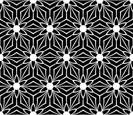 Black and white seamless geometric floral pattern. Vector art.  イラスト・ベクター素材