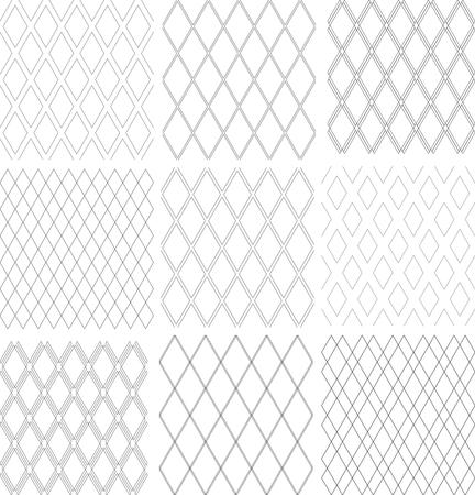 Seamless diamonds patterns set. Geometric textures. Vector art.  イラスト・ベクター素材