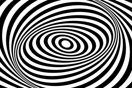 Op art design. Swirl movement illusion. Oval lines pattern and texture. Vector art.  イラスト・ベクター素材
