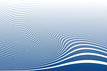 Abstract wavy lines design. Striped blue and white background and texture. Vector art.
