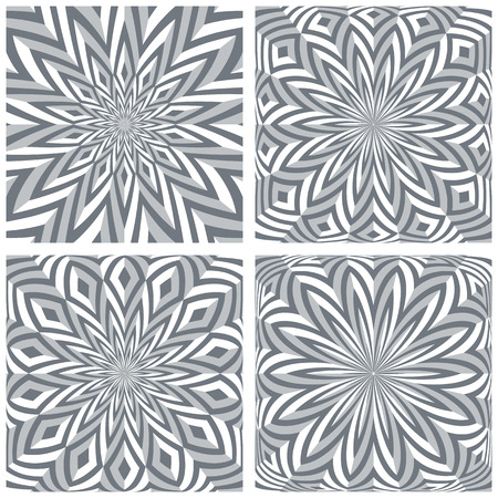 3d geometric rotation patterns set. Vector art.
