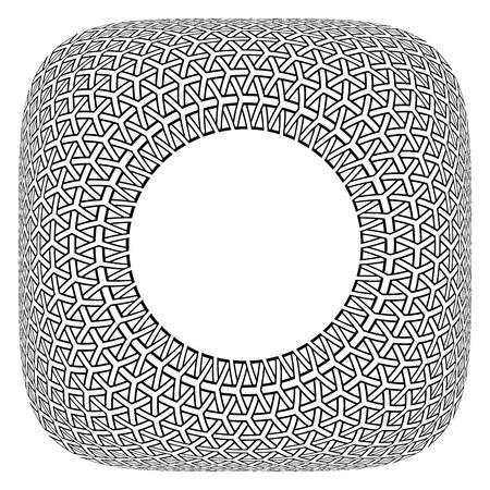 Frame design. Convex geometric circle op art pattern in square shape. Vector illustration.
