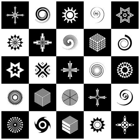 Design elements set. 25 black and white icons. Vector art.  イラスト・ベクター素材