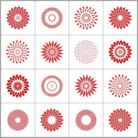 Design elements set. Abstract circle geometric patterns. Vector art.