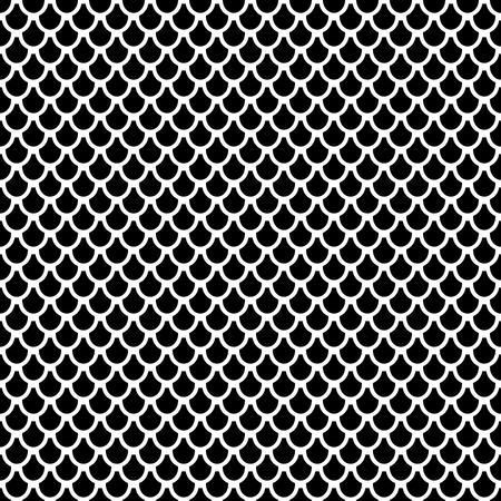 Seamless pattern in fish scale design. Geometric circles texture. Vector art.