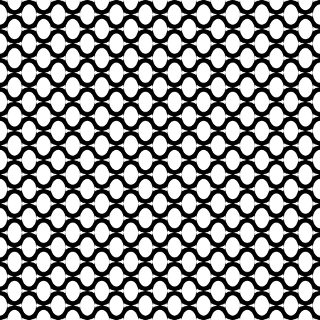 Oval elements and wavy lines grid pattern. Seamless geometric texture. Vector art.  イラスト・ベクター素材