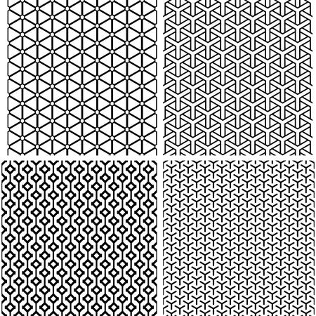 Seamless geometric patterns set. Vector art.