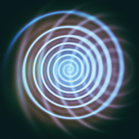 Spiral whirl movement. Abstract blue background. Illustration. 写真素材