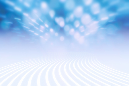 Wavy lines road and shiny light bokeh in space. Illustration.