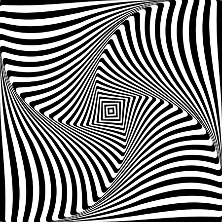 Abstract op art graphic design. Illusion of torsion rotation movement. Vector illustration.