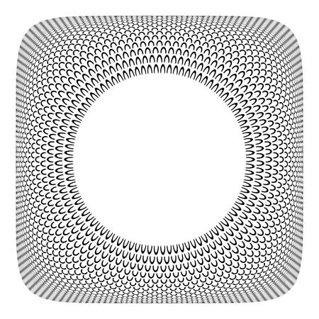 3D frame design. Circle spattern in convex square shape. Vector art.
