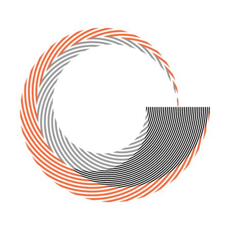 Circle spiral striped design element. Vector art.  イラスト・ベクター素材