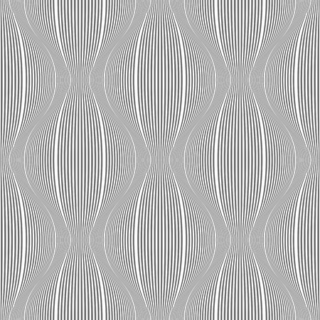 Seamless striped 3D pattern. Geometric convex lines texture. Vector art.