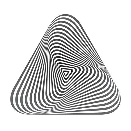 Op art geometric design element. Triangle. 3D shape. Vector art.