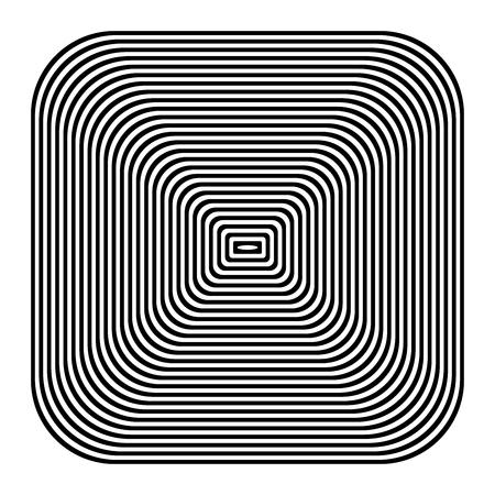 Square design element. Geometric lines pattern. Vector art.