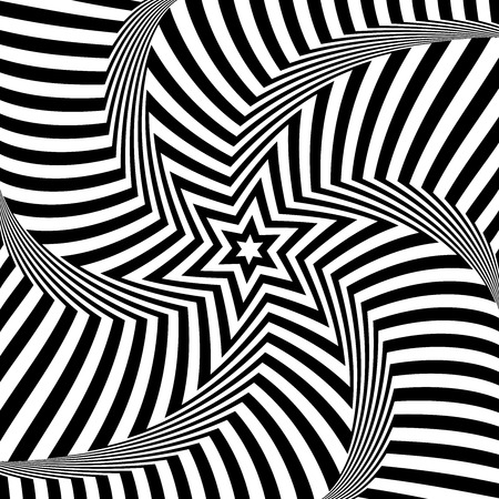 Illusion of rotation torsion movement. Star pattern. Zigzag lines texture. Abstract op art design. Vector art.