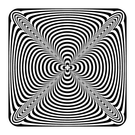 Op art geometric design element. Convex shape. Vector art.