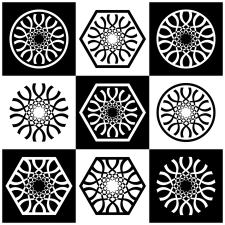 Design elements set. Abstract black and white decorative icons. Vector art.